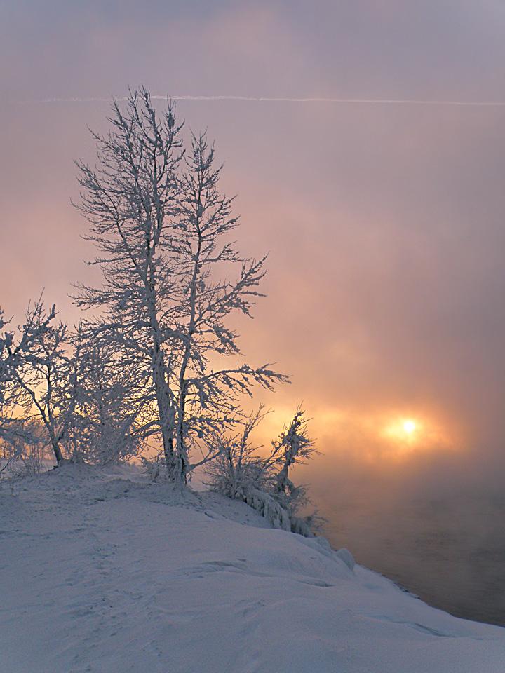 Мороз, туман и закат