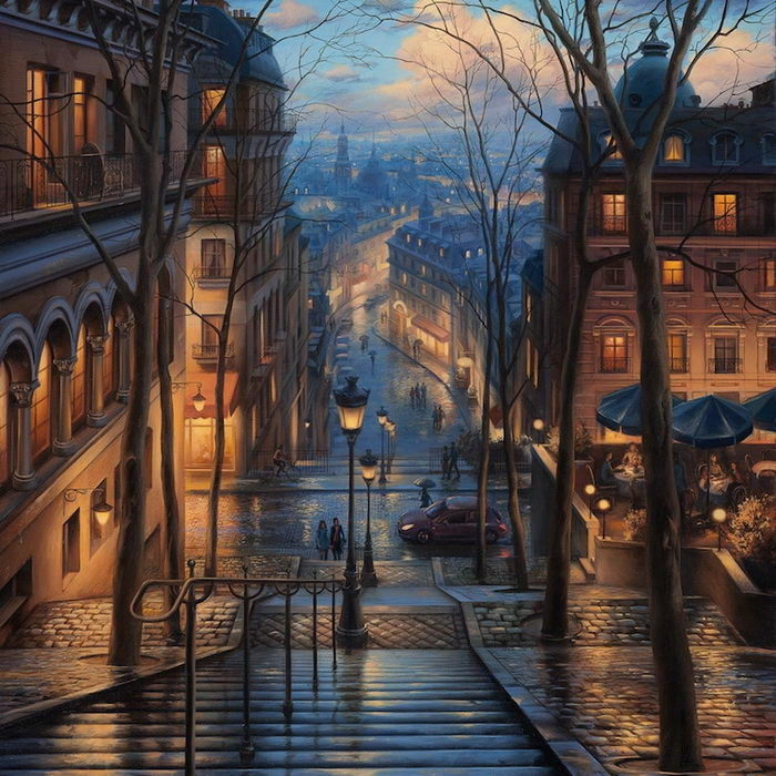 Сумерки в городах: картины Евгения Лушпина