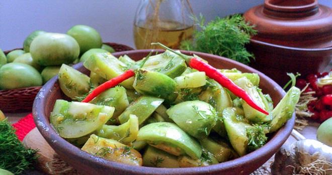 Салат из зеленых помидоров - вкусные рецепты оригинальной домашней консервации
