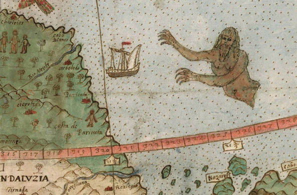 Карту мира XVI века с единорогами и русалками показали публике
