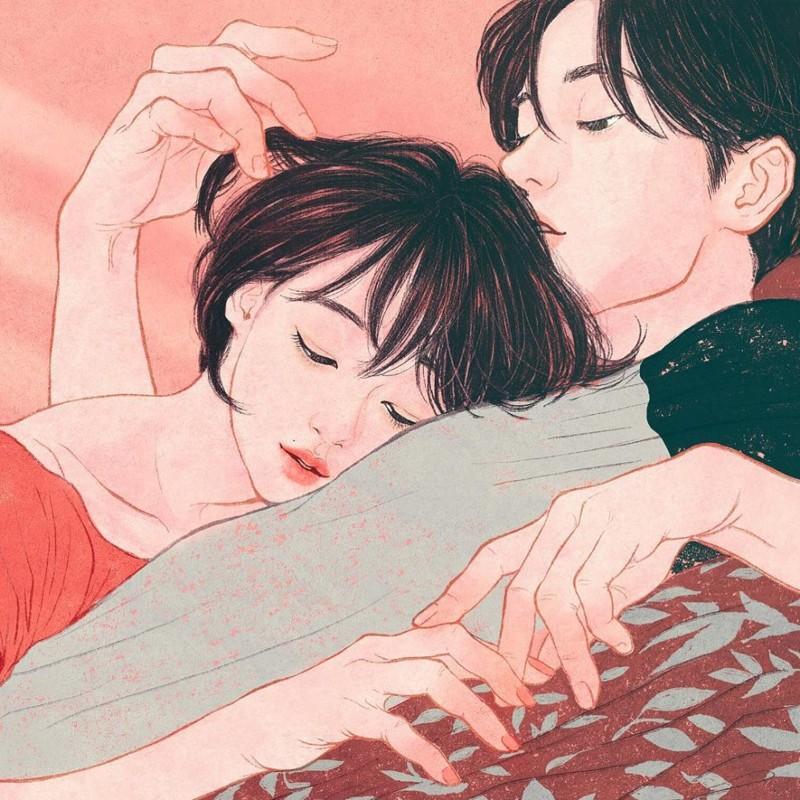 """""""Его запах — все равно, что погрузить лицо в полуденную подушку, наполненную радугой. Я хотела держать и не отпускать его"""" Любовь, в мире, влюбленность, искусство, романтика, художник, южная корея"""