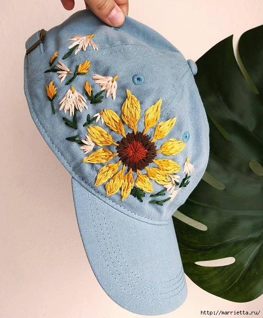 Вот так, при помощи вышивки, можно украсить обычную кепку — идеи для вдохновения