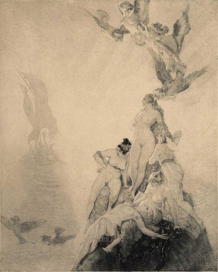 Прелестные нимфы, козлоногие обольстители и демоны в картинах Нормана Линдсея 38