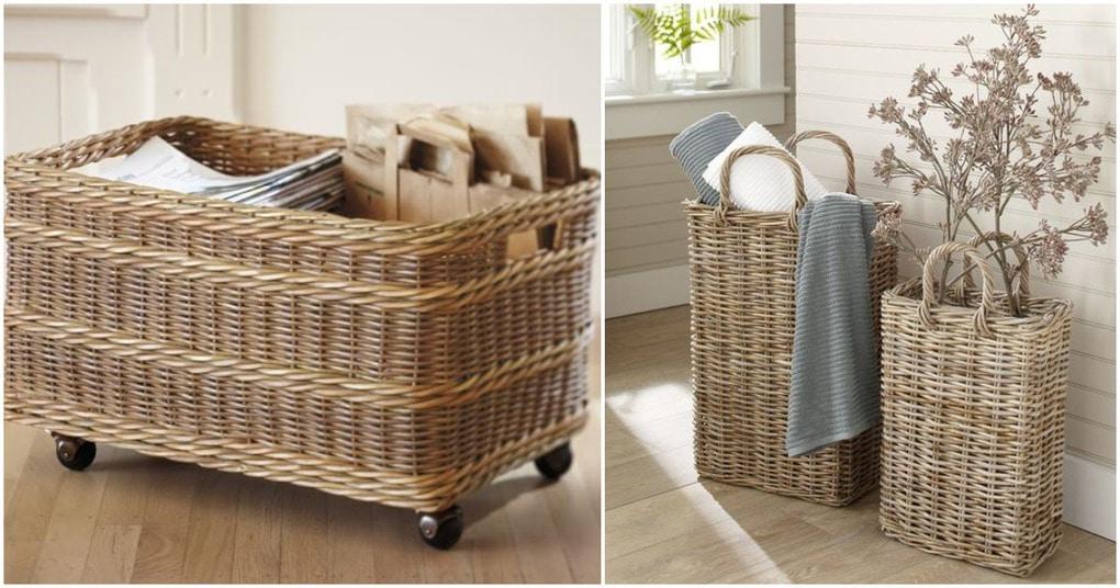 Плетеные корзины: стильный штрих, делающий обстановку особенной