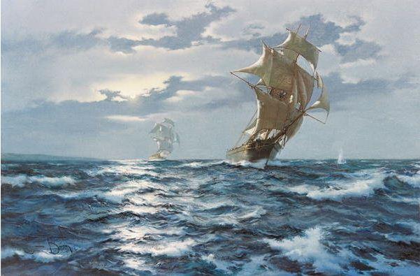 Brereton James. Картины маслом море. Предупредительный выстрел
