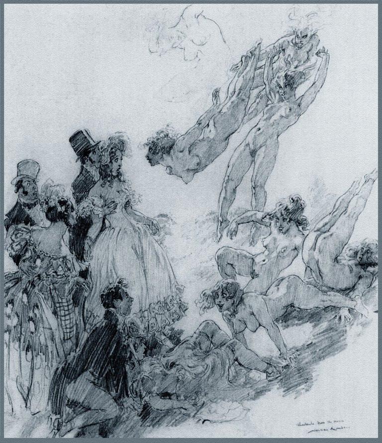 Прелестные нимфы, козлоногие обольстители и демоны в картинах Нормана Линдсея 53
