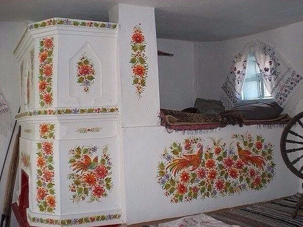 Изящество Петриковской росписи печи