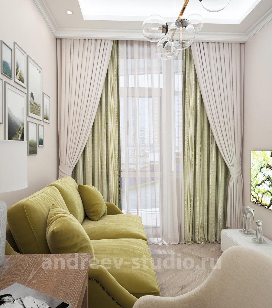 3Д фотография кабинета в современной классике. Дизайнеры интерьеров Андрей и Екатерина Андреевы.