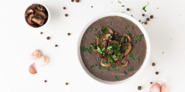 Веганский суп из шампиньонов с имбирём