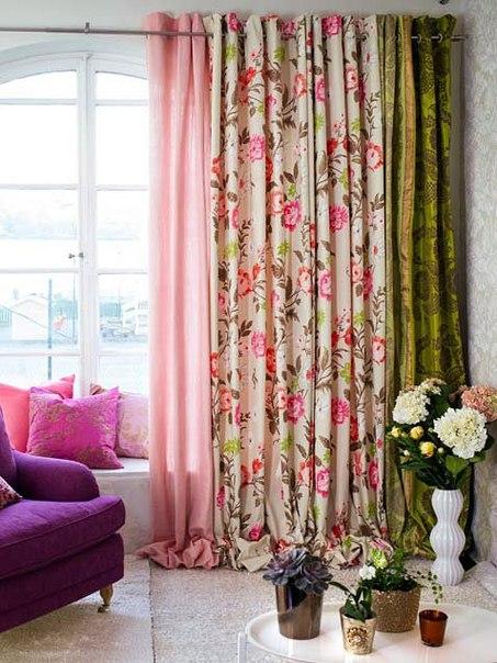 Дизайн штор в цветочек