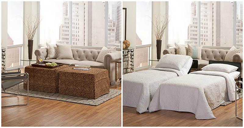 Интересная идея для маленьких квартир: оттоманка как раскладушка