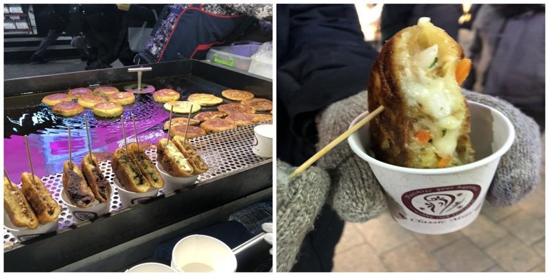 4. Сырно-овощной донат: $3 еда, еда быстро, сеул, уличная Еда, уличная еда, фастфуд, южная корея