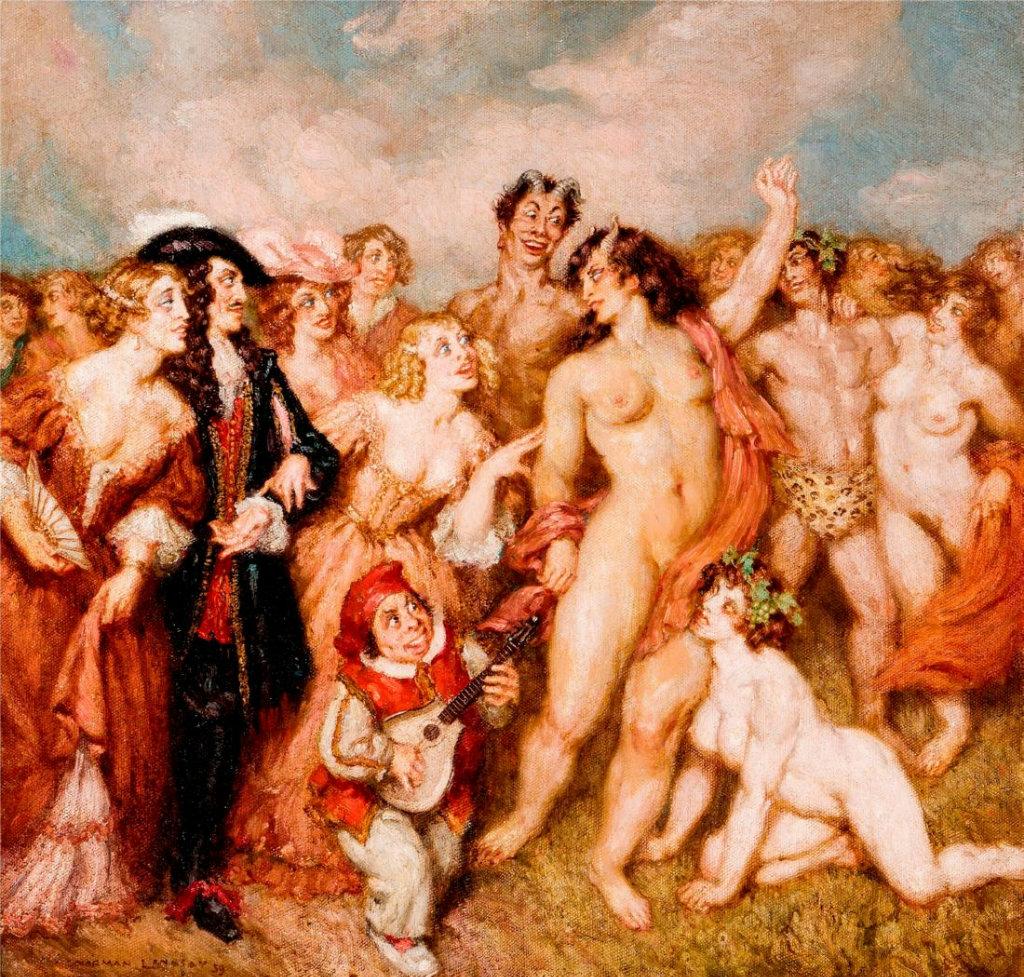 Прелестные нимфы, козлоногие обольстители и демоны в картинах Нормана Линдсея 67