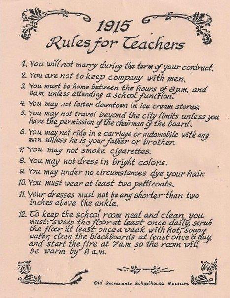 Правила для учительниц. 1915 год