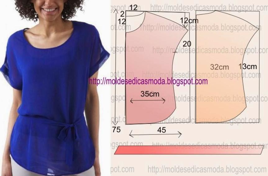 Выкройка рукавов для блузы из шифона