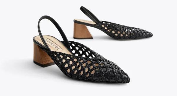 Плетеные туфли без задников на деревянном каблуке Uterque, цена 9 990 руб
