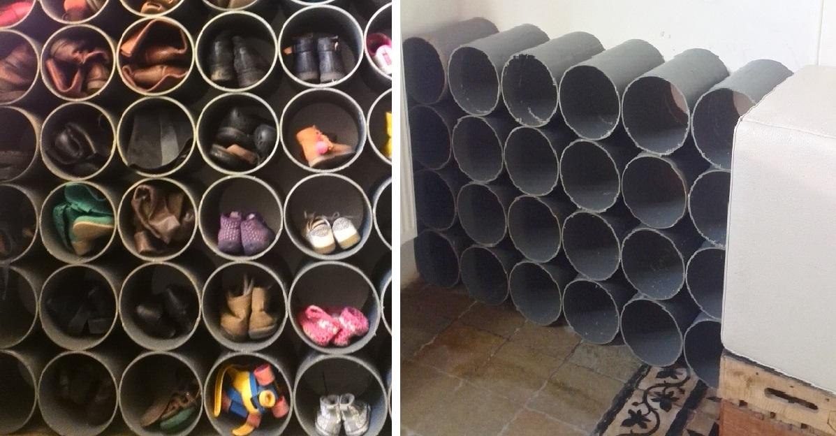 Не знаете где хранить обувь на даче? Тогда трубы ПВХ вам в помощь