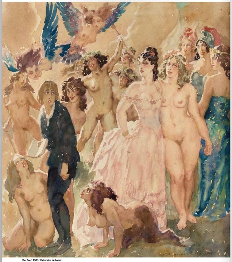 Прелестные нимфы, козлоногие обольстители и демоны в картинах Нормана Линдсея 20