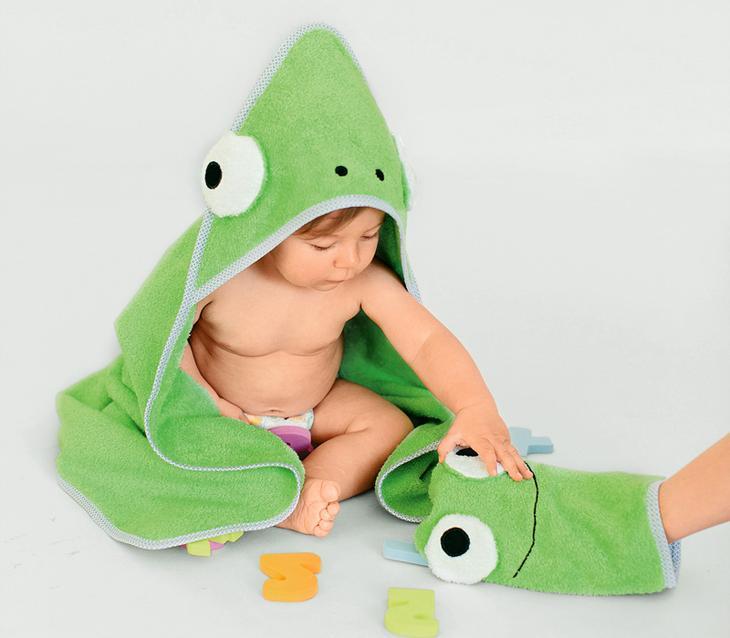 МК — банное полотенце и махровая рукавичка для малыша своими руками