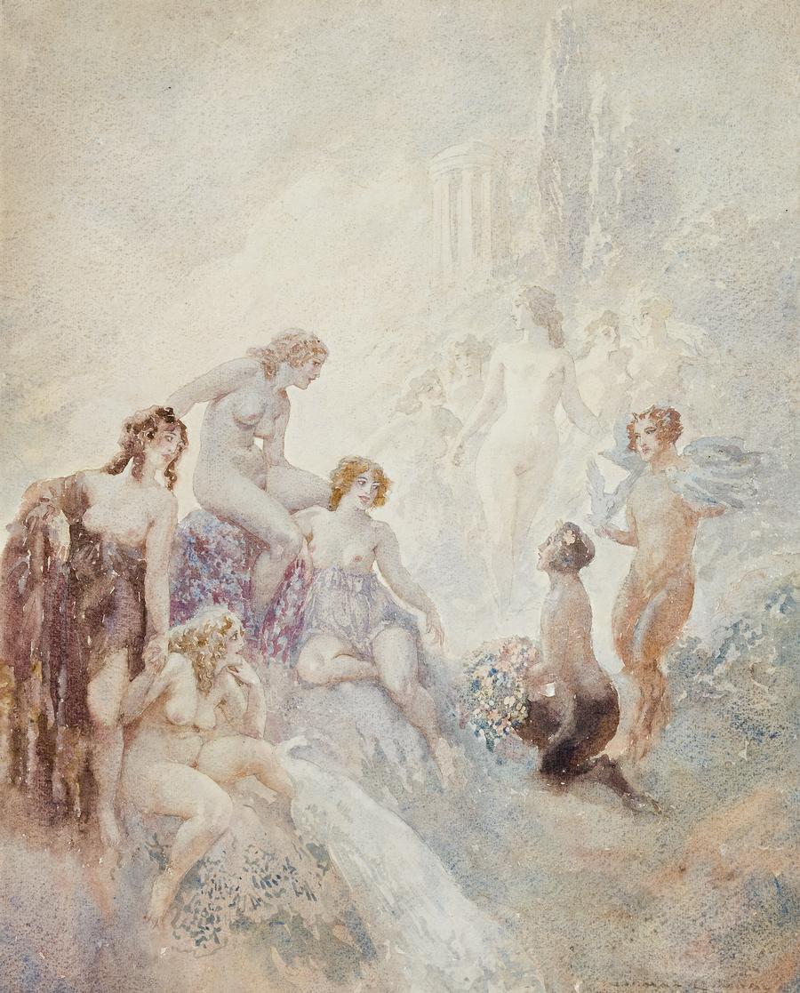 Прелестные нимфы, козлоногие обольстители и демоны в картинах Нормана Линдсея 68