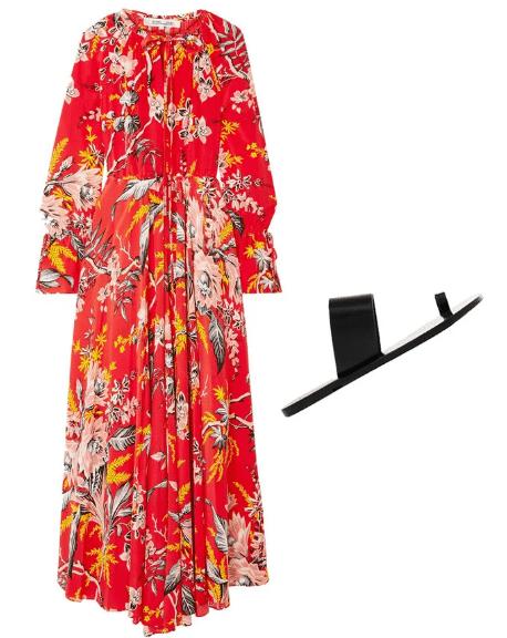 Ярко-красное платье и черные шлепанцы