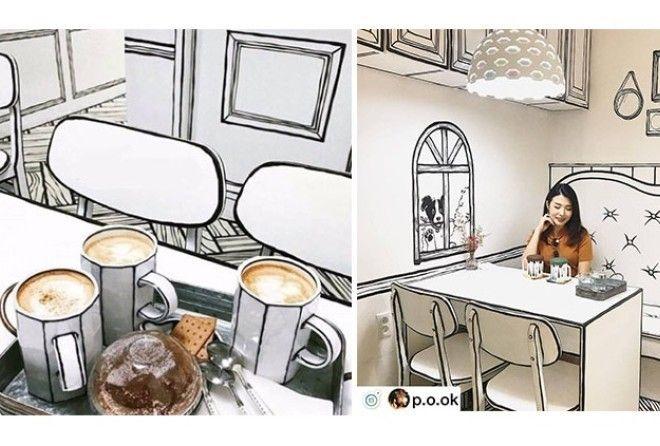 Думаете, рисунок?Нет,это кафе Сеула, где вы почувствуете себя героем комикса