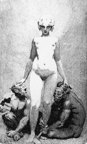 Прелестные нимфы, козлоногие обольстители и демоны в картинах Нормана Линдсея 33