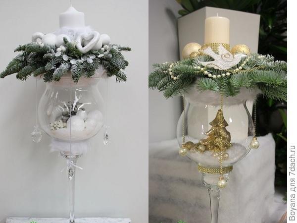 Новогодние композиции в бокале.ю Фото с сайта https://ru.pinterest.com/