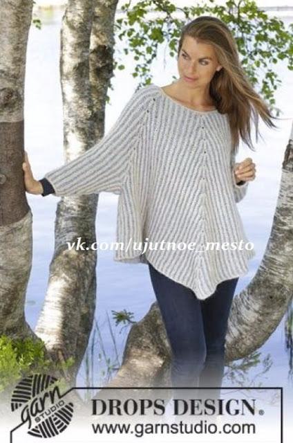 Пуловер-пончо резинкой бриош…