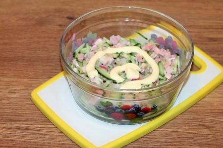 "Салат с беконом  и овощами "" елочка"": фото шаг 5"