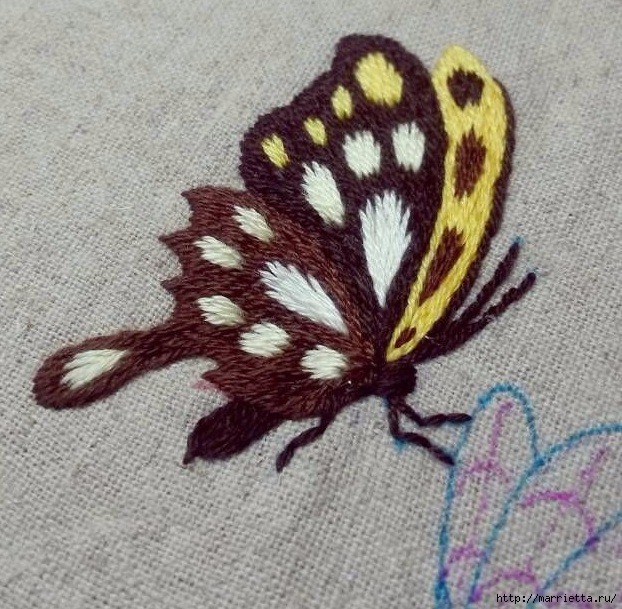 Вышивка гладью Бабочка (3) (622x609, 282Kb)