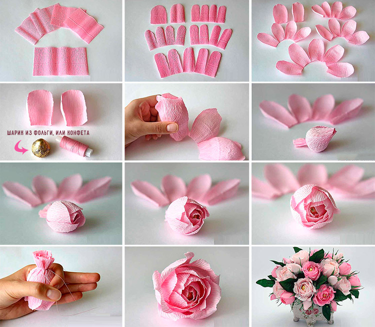 Как сделать розу из крепированной бумаги