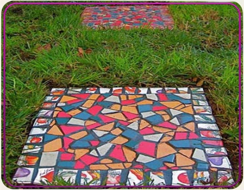 Дорожки в огороде из необычных материалов (10 фото)