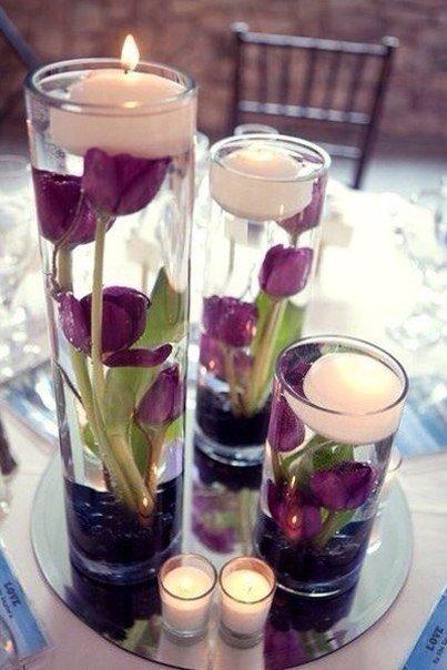Оригинальные композиции из плавающих свеч