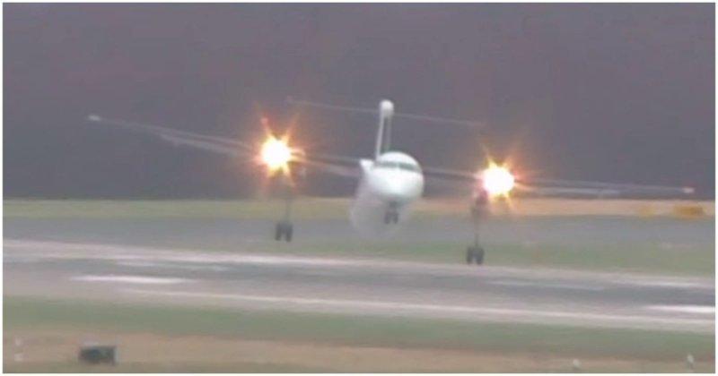 Виртуозная посадка самолета во время урагана в Германии