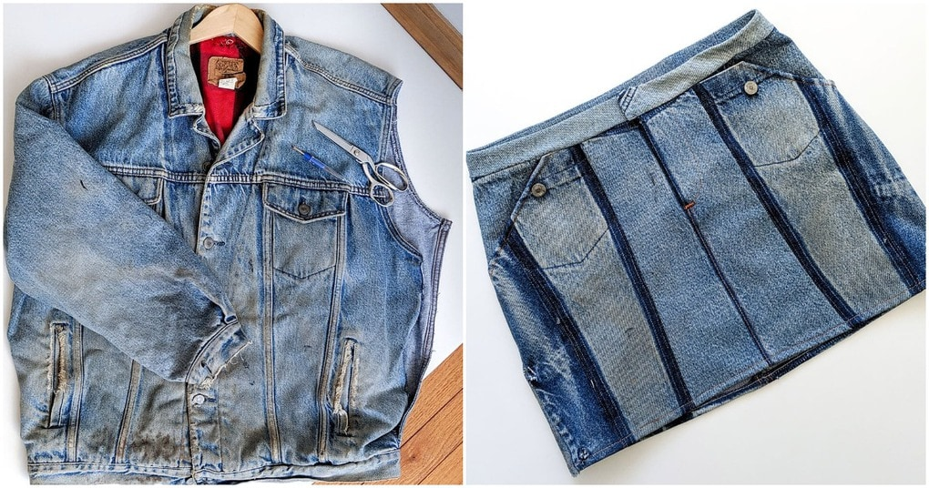 Модная джинсовая юбка из старой куртки