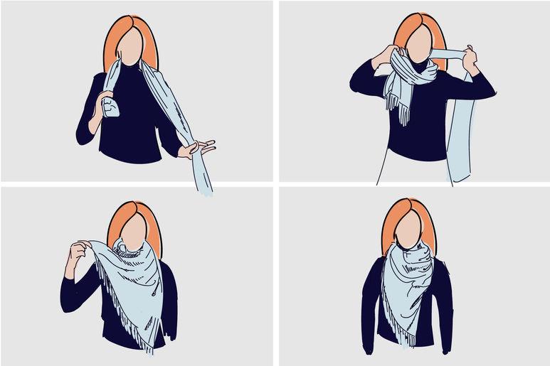 как красиво завязать платок на шее фото