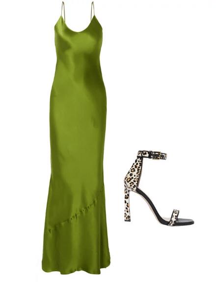 Зеленое платье и леопардовые туфли
