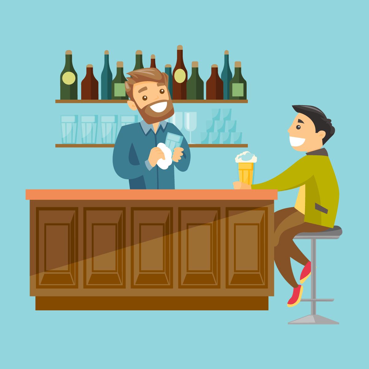 Анекдот о том, как у бармена подставки под пиво пропадали