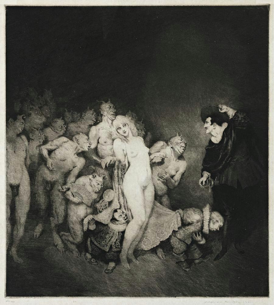 Прелестные нимфы, козлоногие обольстители и демоны в картинах Нормана Линдсея 16