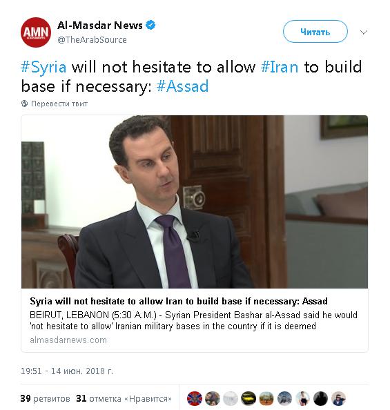 Асад заявил, что в случае необходимости без колебаний позволит Ирану построить военную базу в Сирии
