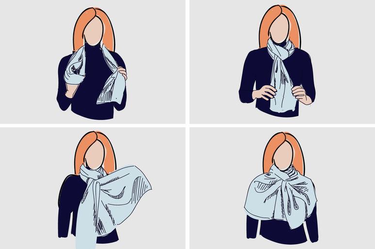 как красиво завязывать платок шарф фото
