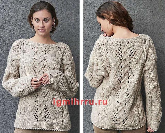 Тёплый пуловер с комбинацией узоров