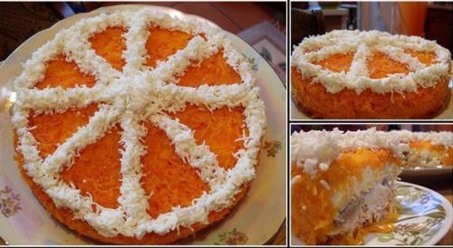 """Праздничный слоeный салат """"долька апельсина""""."""