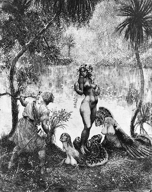 Прелестные нимфы, козлоногие обольстители и демоны в картинах Нормана Линдсея 57