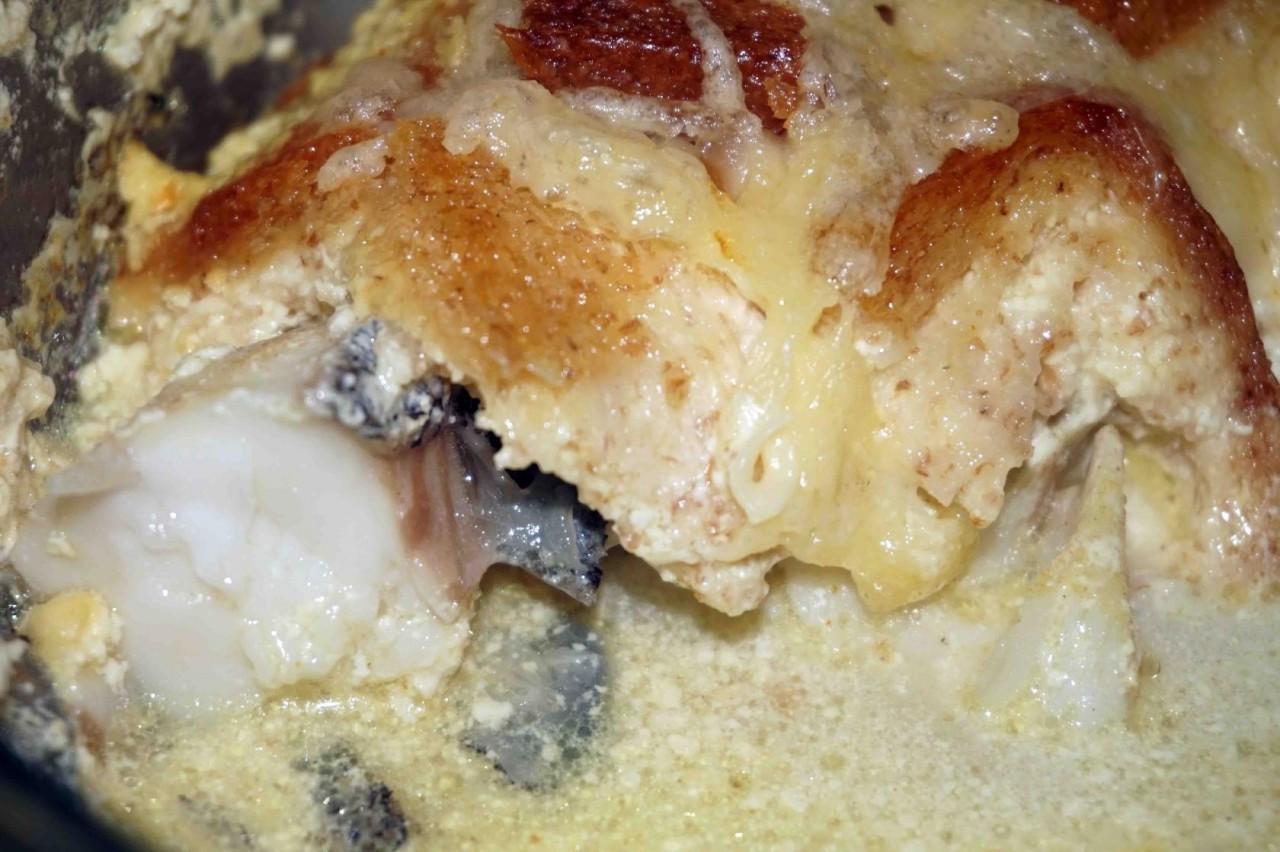 Палтус в сливочном соусе с карри и сыром