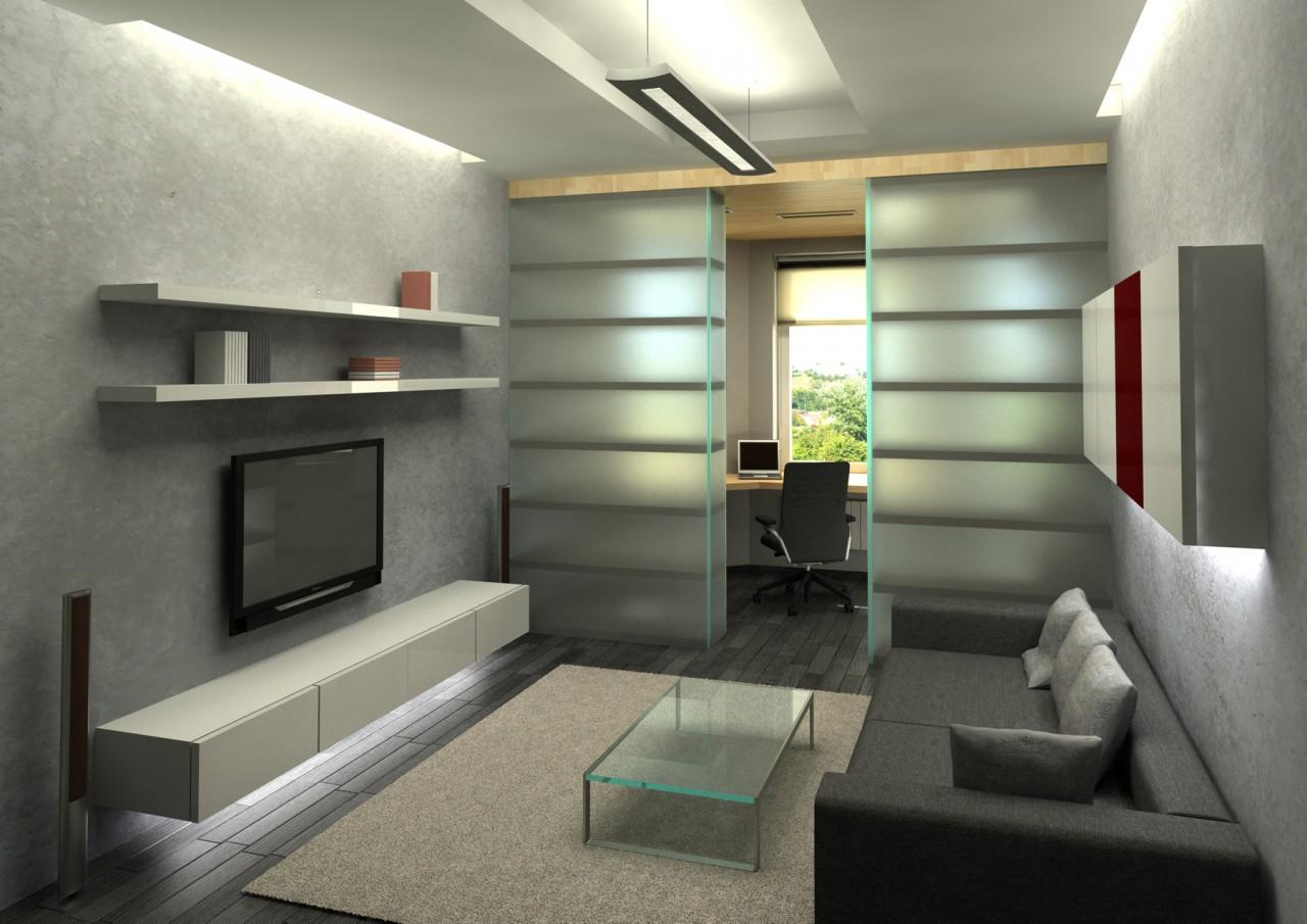 Дизайн комнат разделенные на две зоны