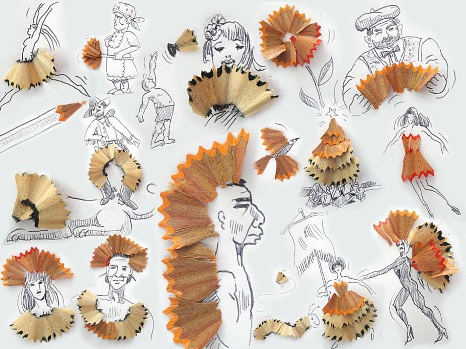 Виктор Нунес - Рисунки из стружки карандашей