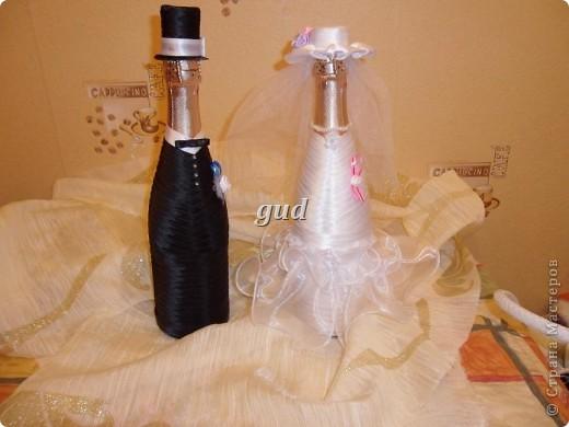 Декор предметов Мастер-класс Свадьба Аппликация Свадебные бутылочки и МК Ленты фото 29