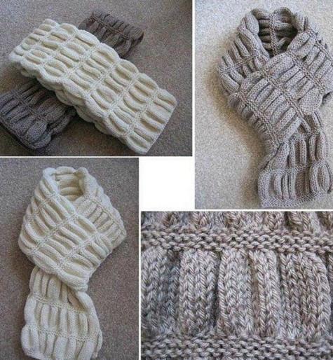 "Вязаный спицами шарф ""гармошка"""